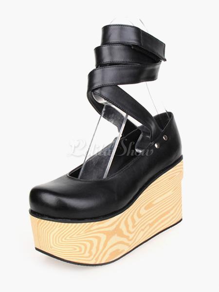Zapatos Lolita Gótico Negros Plataforma Alta irantes de Tobillo 2poAkfkbf4