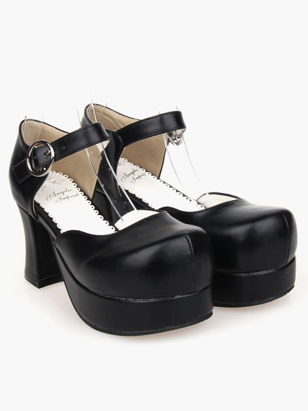 cuero PU negro Hermosa sandalias Lolita ORY5xpq