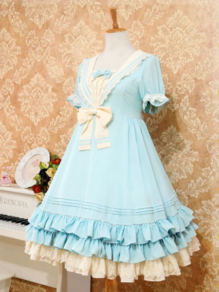 ee84f21822f ... Lolitashow Sweet Lolita Dress The Sails Of The Rhine Op Lolita One  Piece Dress