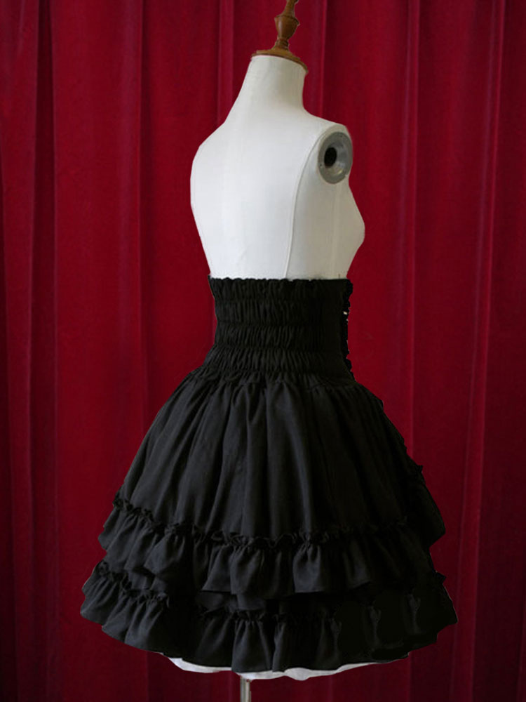 08f895743b99d8 Lolitashow Classique taille haute Jupe Lolita noire élégante luxueuse  séduisante en coton unicolore avec volant vertical