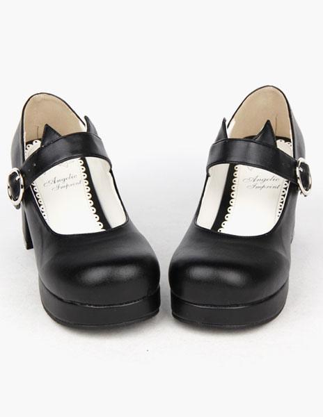Negro ronda Toe PU Lolita zapatos para niñas PbAXRIOe