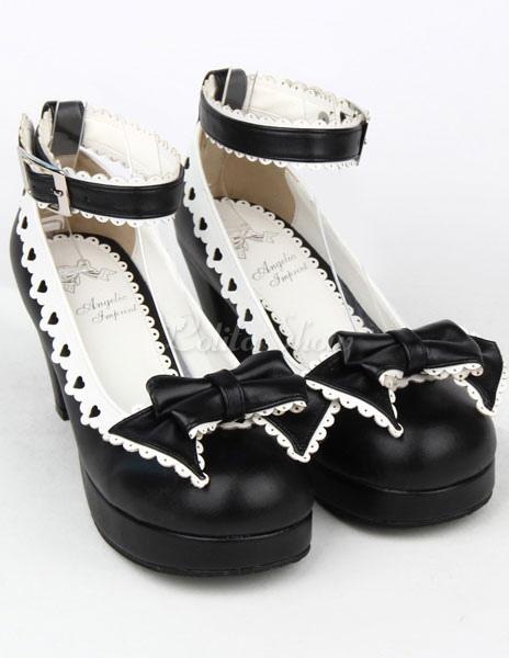 Blanco Lolita Tacones Cuadrados Zapatos Trim Tirantes Hebillas VxNCzUeIB