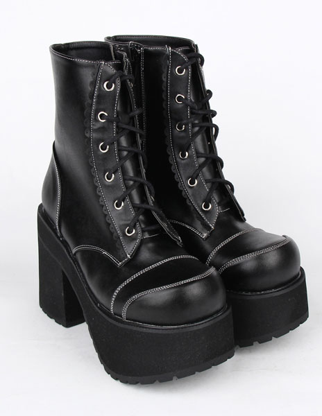 e581f12ea86 Lolitashow Black PU Leather Lolita Heel Boots for Girls