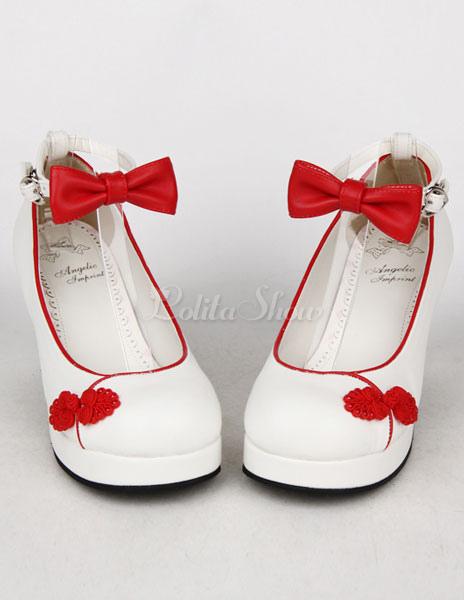 Blanco rojo arco PU Lolita zapatos para niñas U7OZPyHldu