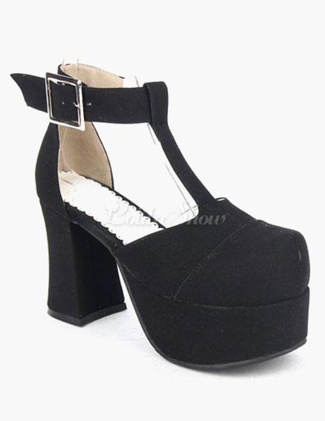 Plataforma microfibra negro zapatos de Lolita para niñas idxtNOrY3