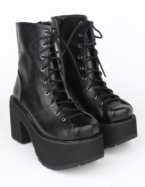 Encaje negro PU Lolita botas para niñas YmVsM7n
