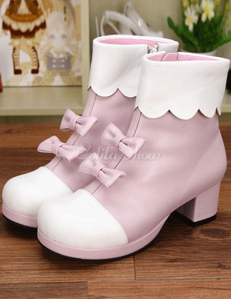 Luz rosa PU Lolita botas de tacón para niñas uCvVzC
