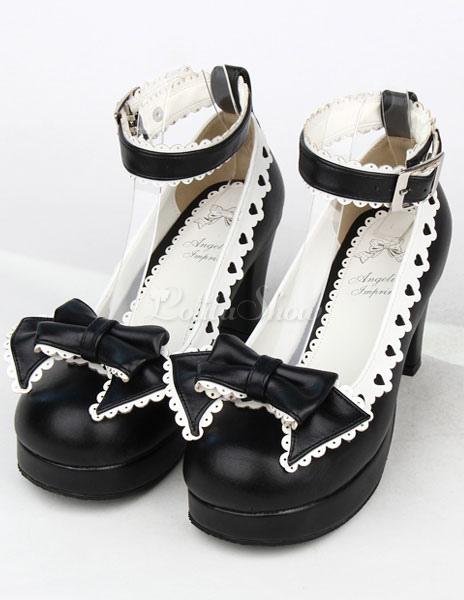 Negro Tacones Gruesos Zapatos Tirantes Lazo Hebillas VUnsaSp0