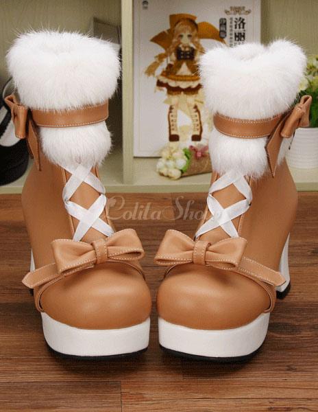 Luz Tan PU Lolita botas de tacón para niñas q1lxC5G