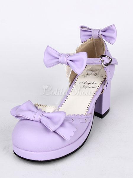 Tacón grueso de PU Lolita zapatos arcos de la lila KGOxZ0Mv