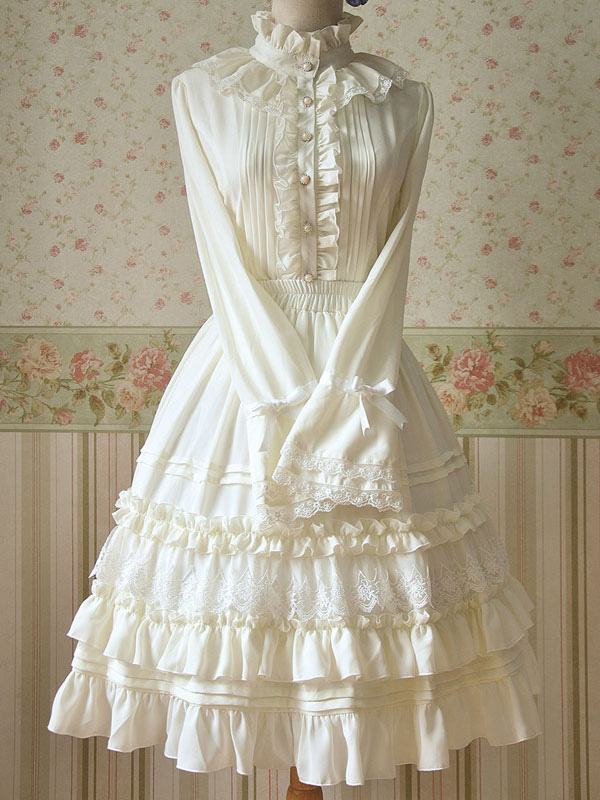 a0776e2372653 Lolitashow White Ruched Chiffon Lolita Dress for Women - Lolitashow.com