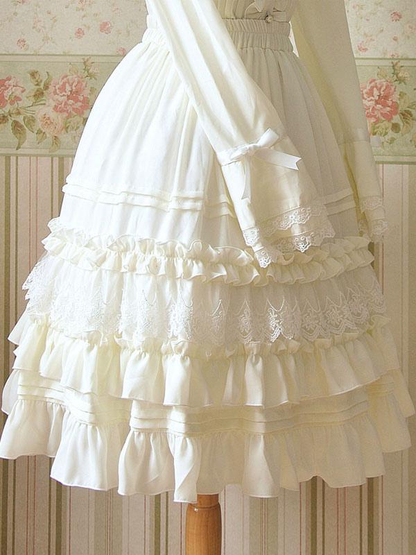 fc44d90d3bd19 Lolitashow White Ruched Chiffon Lolita Dress for Women - Lolitashow.com