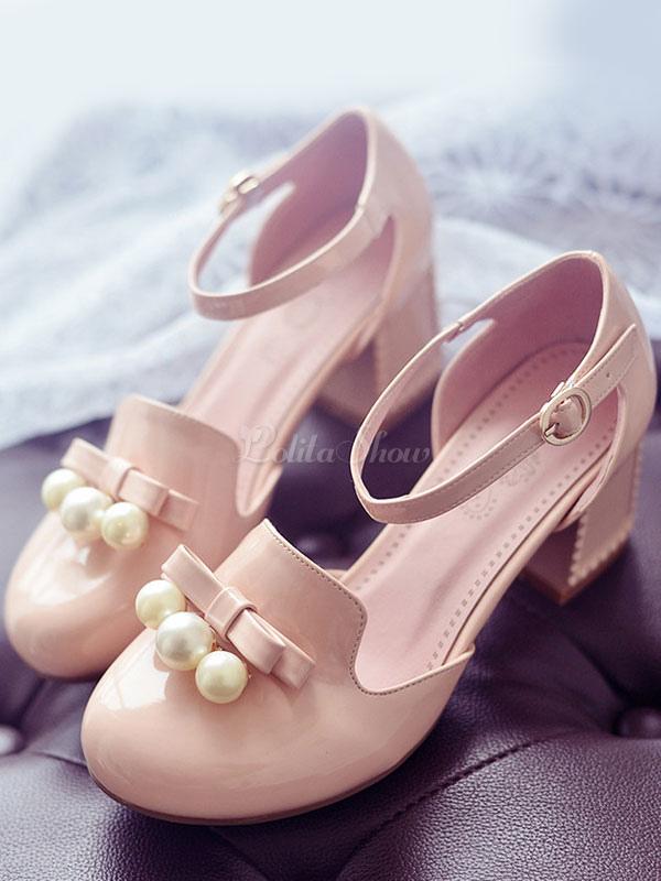 perla Sandalias rosa de tacones PU arco mujeres para Lolita WqqXwgxEOH