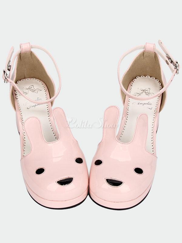 Animal de de la Pony tacones gruesos Linda cabeza Pink correas forma Lolita tobillo sandalias qxTWg4
