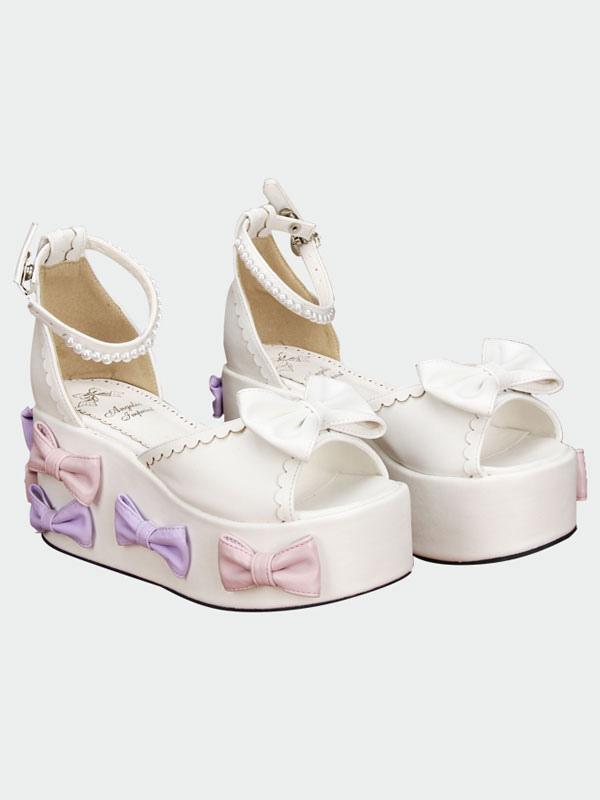 f8ce5a94720 ... Lolitashow Lolita blanco sandalias plataforma alta arcos perlas Decor  tobillo ...