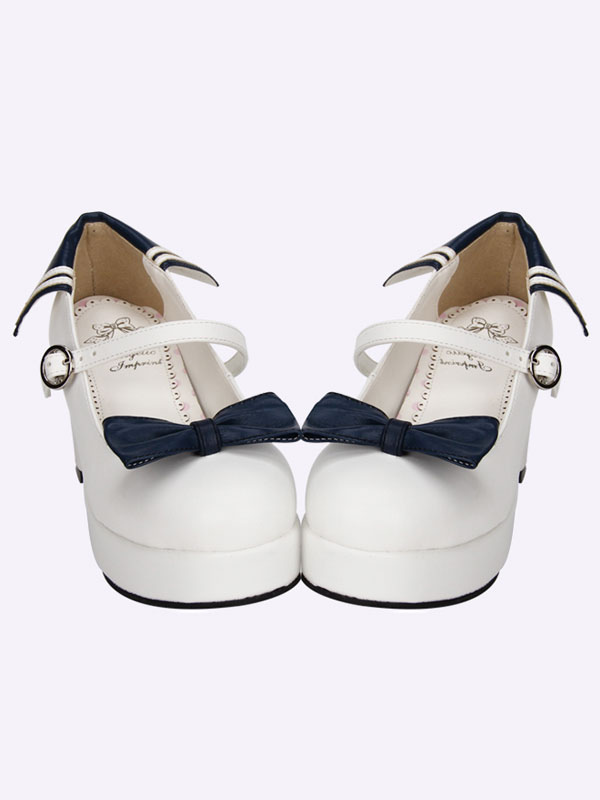 Zapatos de tacón Chunky Lolita blanco azul lazos alrededor del tobillo correa de hebilla Wu0GH