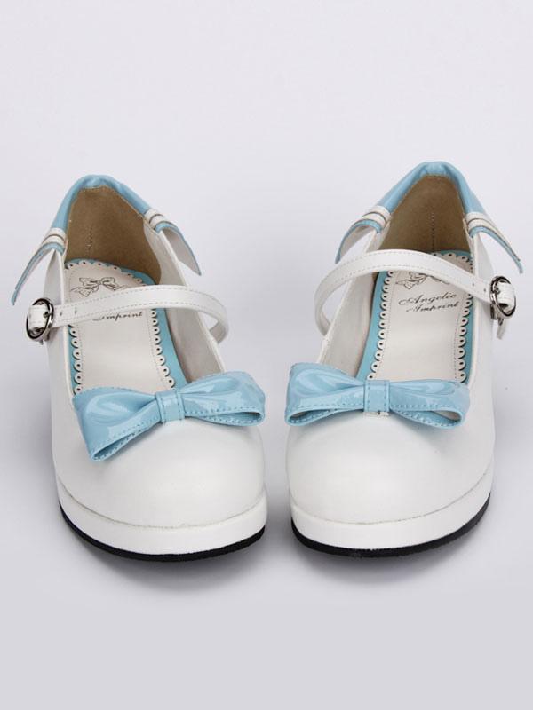 Zapatos de tacón Chunky Lolita blanco azul lazos alrededor del tobillo correa de hebilla ZarnzUi