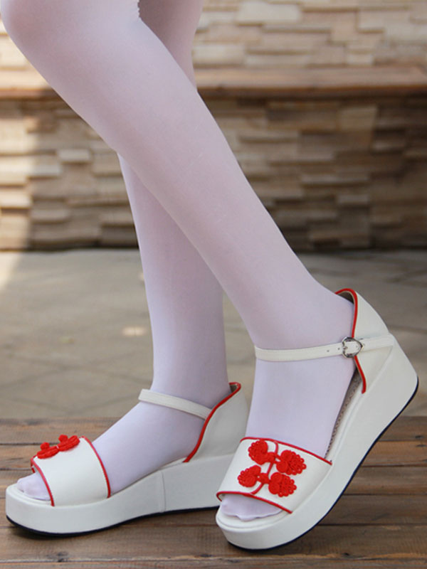 sandalias estilo Lolita Blanco chino plataforma Qi botones rojo qgwgEI6