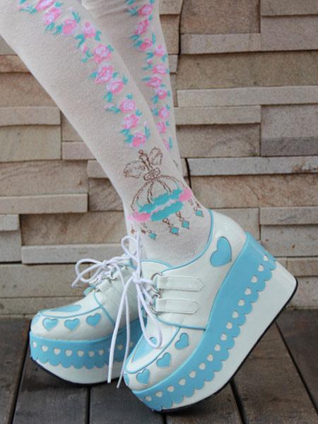 Lolita zapatos corazones alta plataforma Lolita plataforma zapatos de plataforma con Laciness 9fktvJtFV