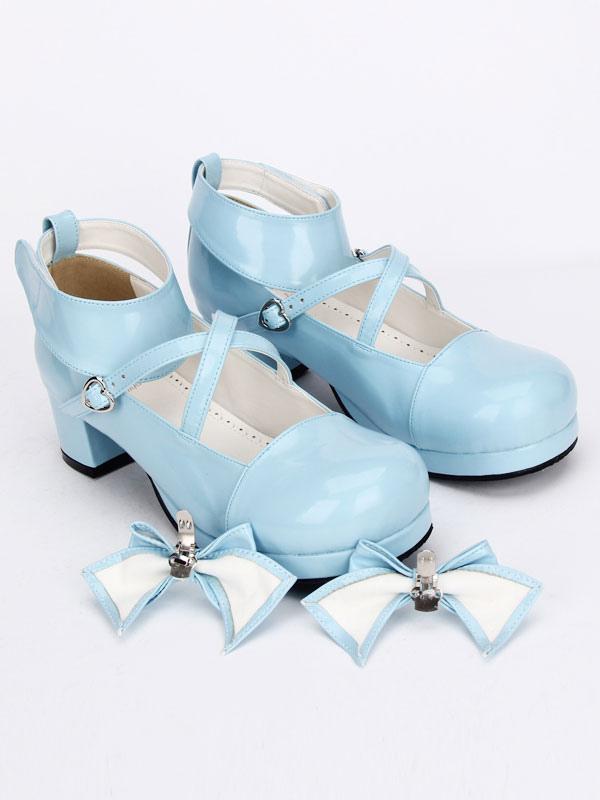 7a7c003bd774 ... Lolitashow Sweet Lolita Shoes Light Blue Cross Bow Cute Lolita Shoes  Ankle Strap Low Heels Lolita ...