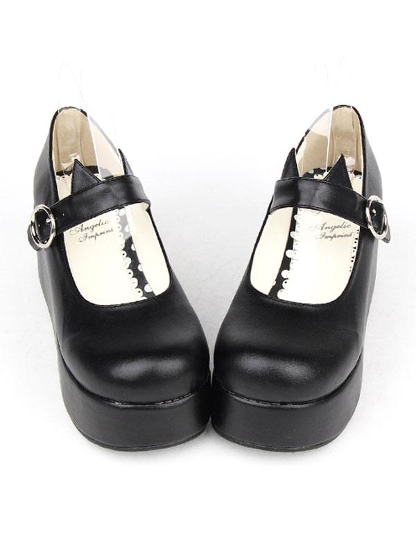 6bc2435f626c ... Lolitashow Gothic Lolita Shoes Black Platform Mary Jane Lolita Shoes  With Cat Ear ...