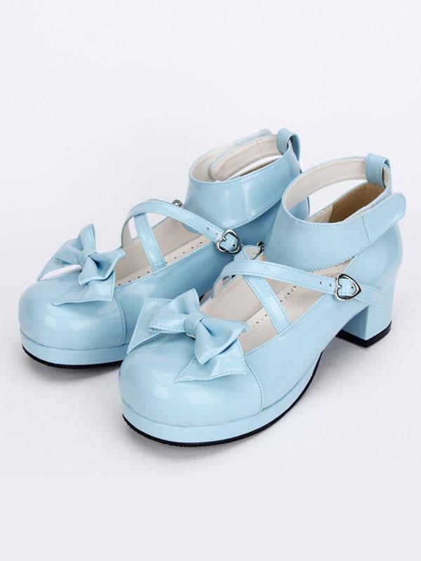30bc2b398fb Lolitashow Sweet Lolita Shoes Light Blue Cross Bow Cute Lolita Shoes Ankle  Strap Low Heels Lolita Pumps With Detachable Bow - Lolitashow.com