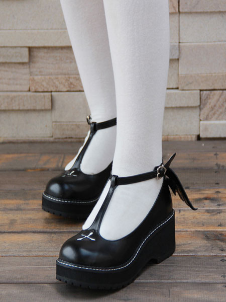 5bbd668bb2 ... Lolitashow Gothic Lolita Shoes Cross Platform Wedge T-strap Lolita Shoes  With Evil Wing ...
