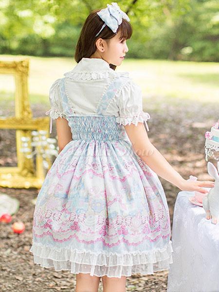 Loita Skirt Lolita Jumper Imprimé Lolitashow Dentelle Léger Avec Bleu Sweet Robe Alice Cute Bows I2eD9YHWE