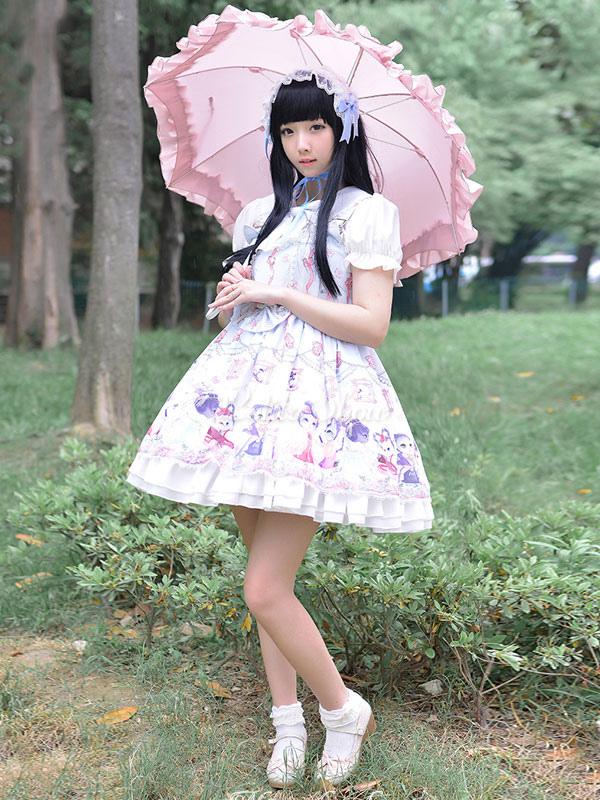 Lolitashow 甘いロリータ ドレスかわいい弓中国風サーカス猫印刷会社情報