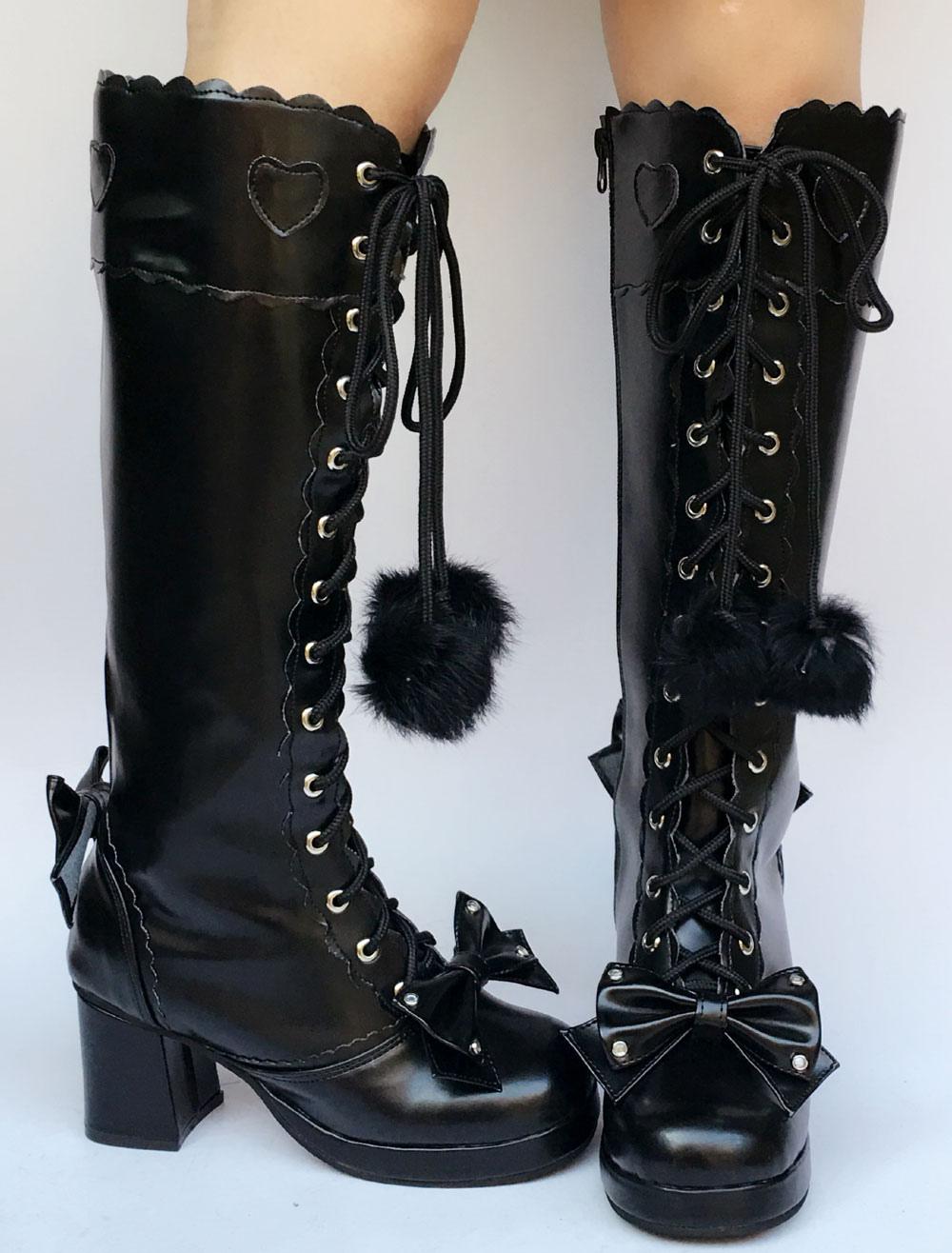 Dulce Lolita botas hasta la rodilla negro grueso tacón plataforma encaje arco corazón Lolita botas altas con bola difusa IWDD9oPv0S