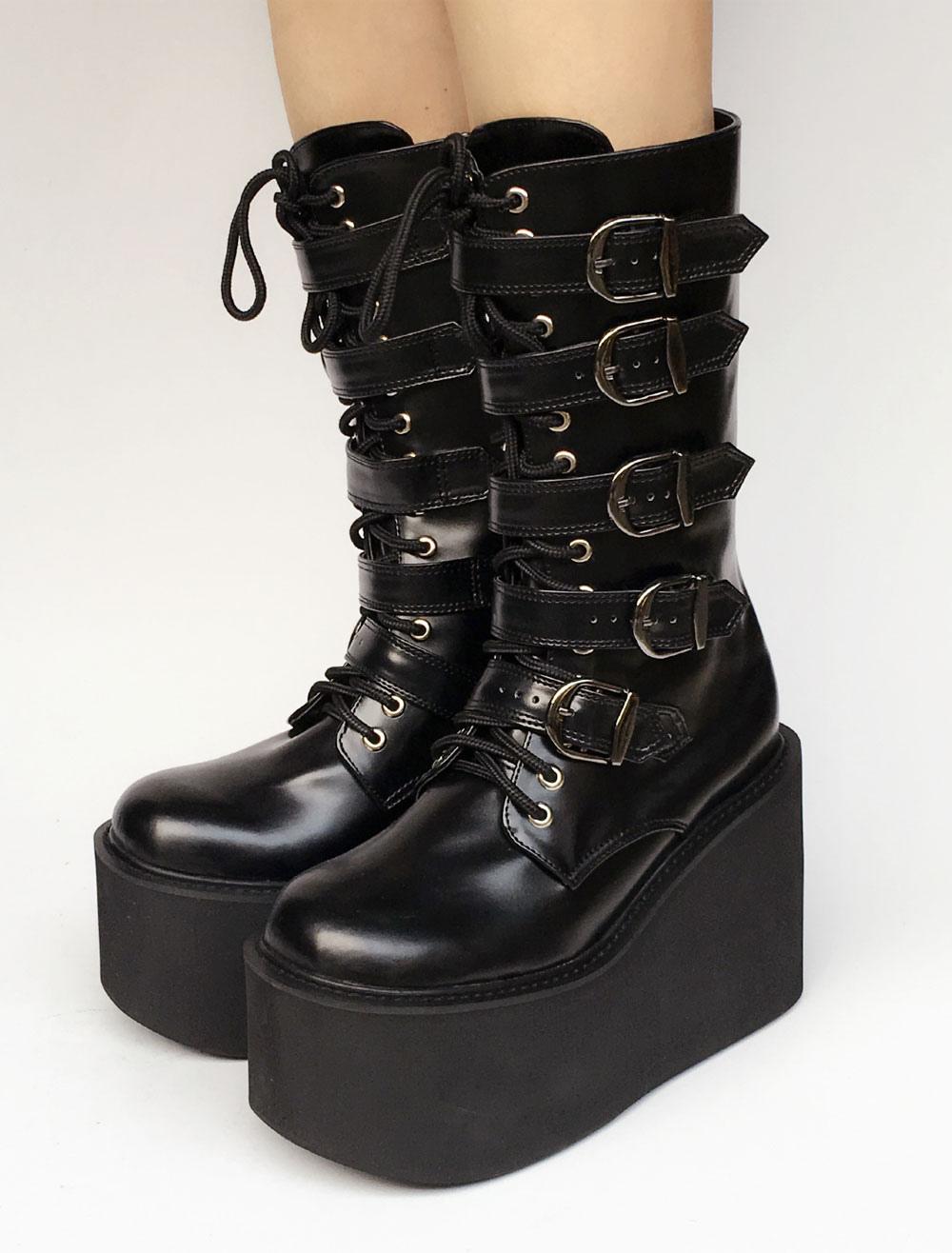 95b5edf8289 Lolitashow Lolita Platform Boots Black Wedge Buckle Lace Up Round Toe  Lolita Short Boots