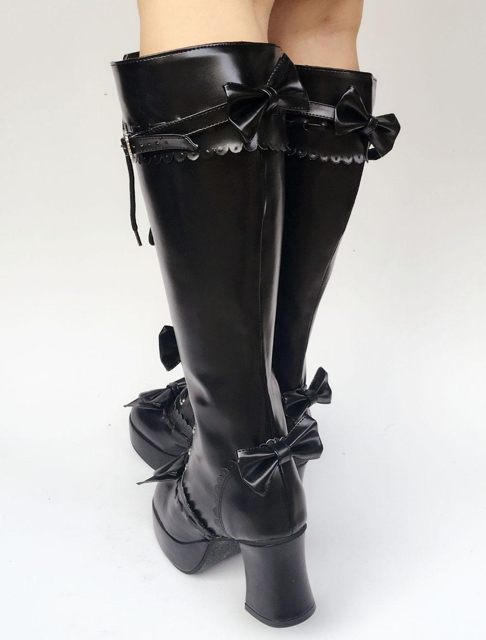 fcc521e197 ... Lolitashow Lolita preto botas joelho salto alto grossas rendas até  plataforma fivela Lolita botas de cano
