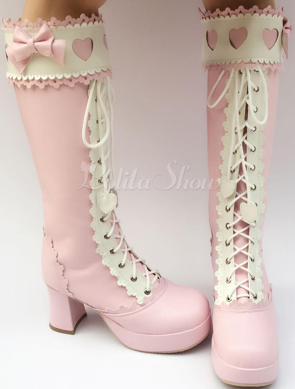 Dulce Lolita botas hasta la rodilla Rosa plataforma tacón grueso cordón arco Lolita botas altas con el recorte de corazón luTJASov1