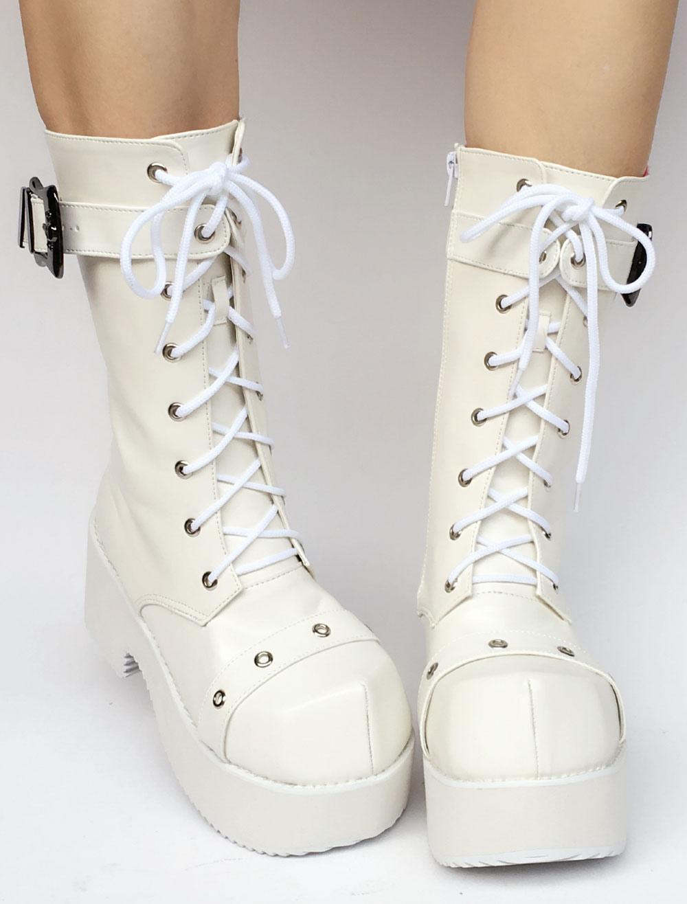 Lolita blanco botas plataforma tacón grueso encaje hebilla alrededor del dedo del pie cremallera Lolita botas cortas con ojal l1RC0Bui