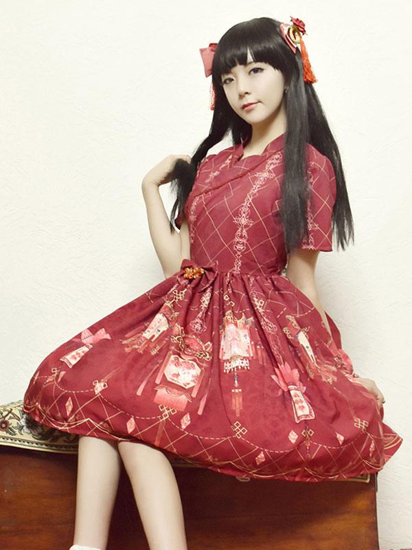 Lolitashow Han Lolita Vestido OP Palacio Chino linterna rojo impreso ...