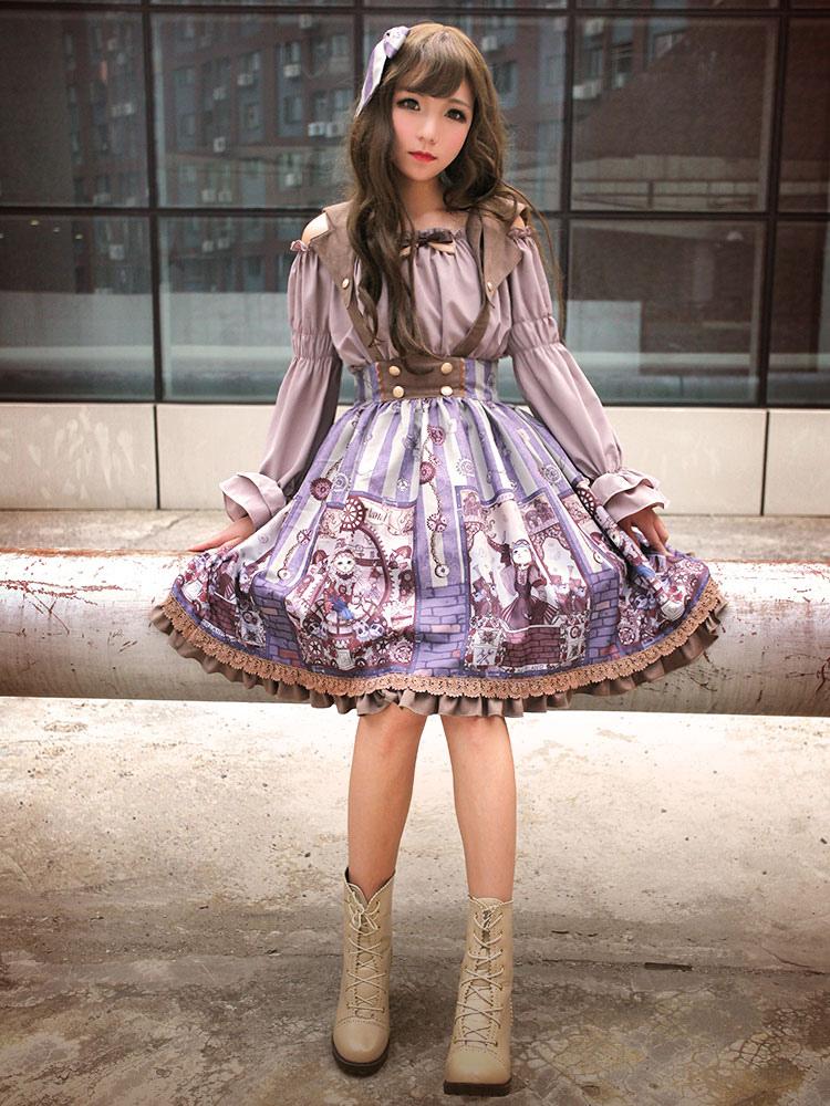 b4645bb327 Lolitashow Classical Lolita Dress JSK Vintage Printed Cross Back Cotton  Lolita Jumper Skirt - Lolitashow.com