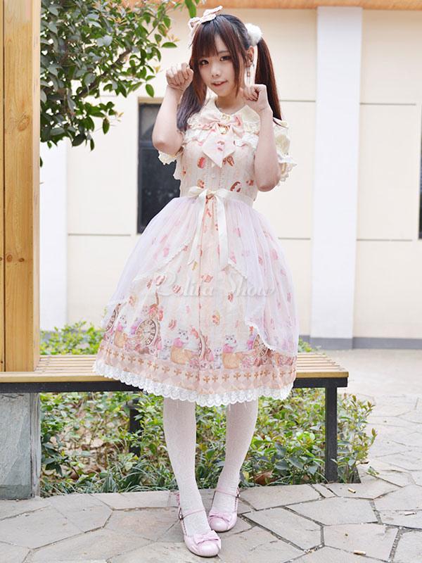 ロリィタジャンパースカート ロリータファッション 甘ロリ ライトピンク