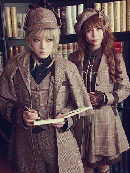 d670b54dd7bab ... Lolitashow Steampunk Lolita Waistcoat Vintage Triple Breasted Brown  Lolita Vest Jacket ...