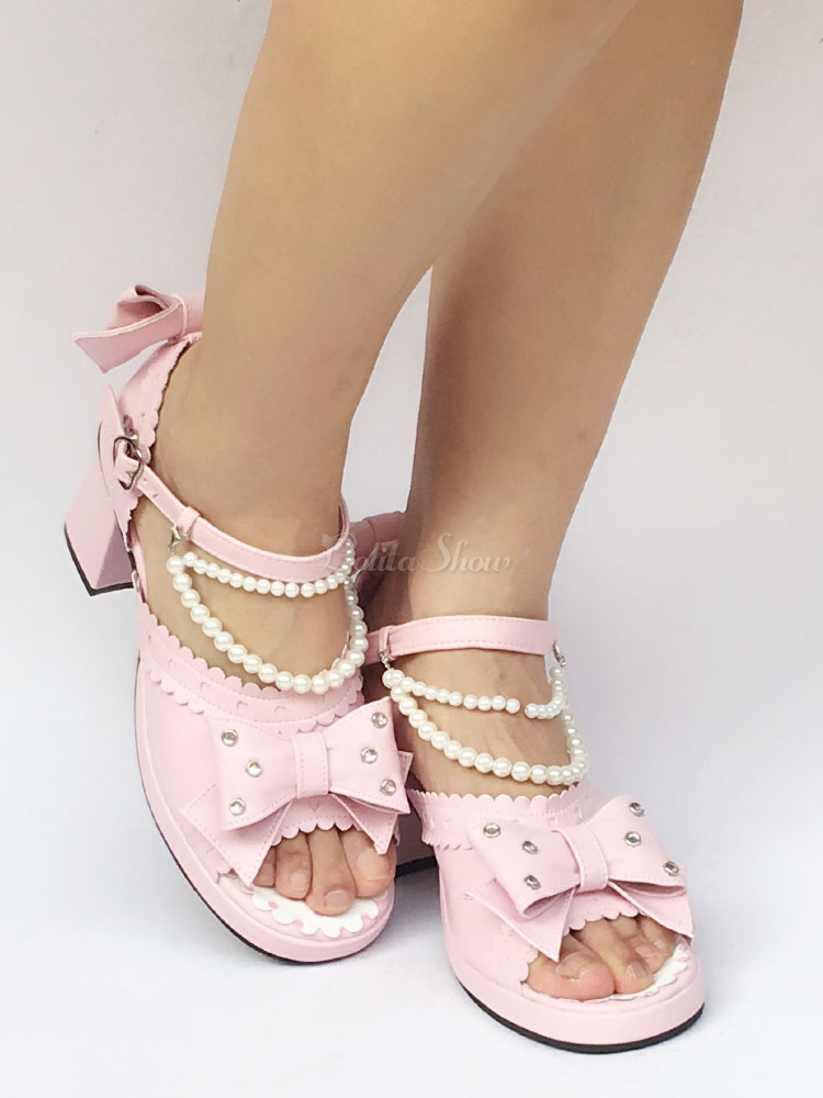 ecd9bf74a Lolitashow Pink Lolita Shoes Chunky Heel Ankle Strap Peep Toe Lolita Sandals  With Pearl Bow - Lolitashow.com