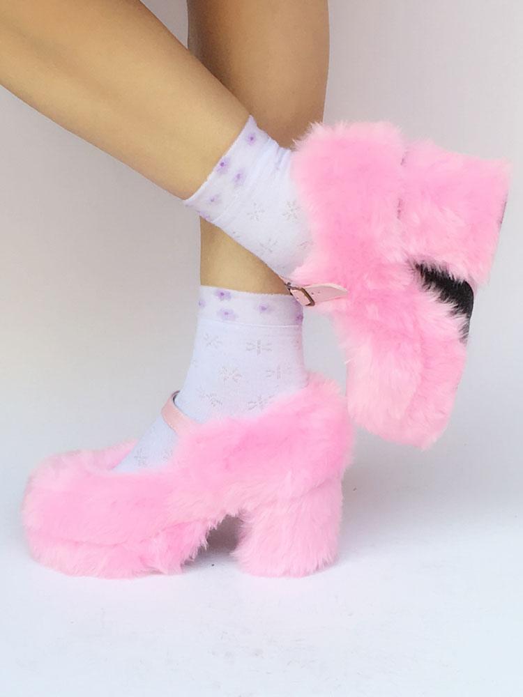 Zapatos de lolita Felpa de puntera redonda Color liso lWCCvsn