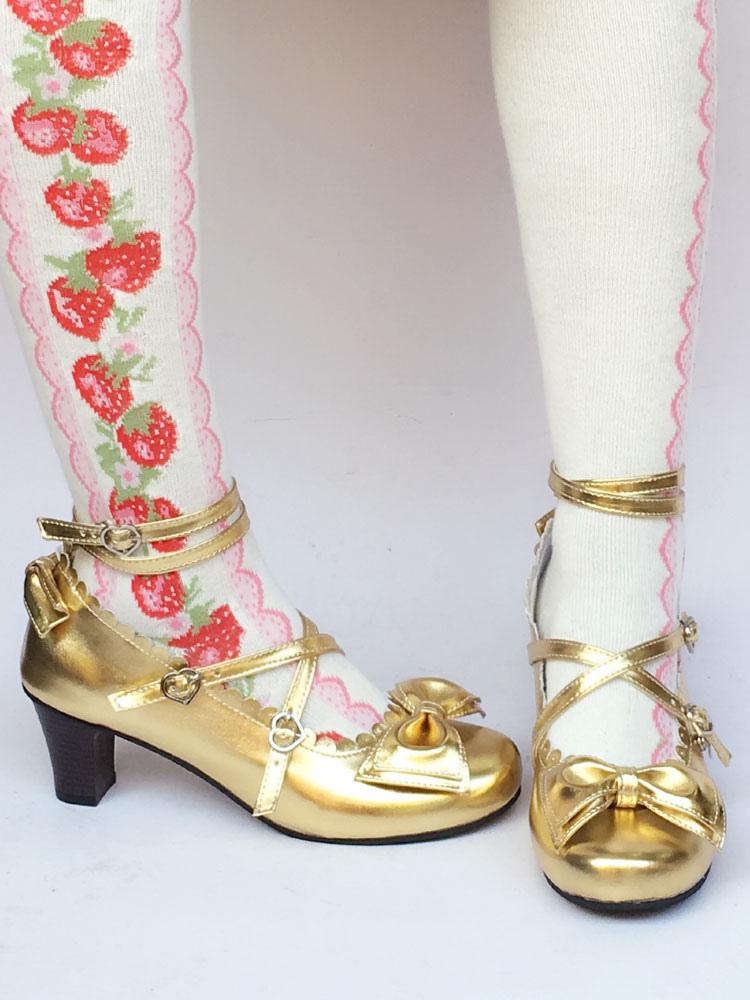 Zapatos de lolita de PU de puntera redonda con lazo dorados FX1uq