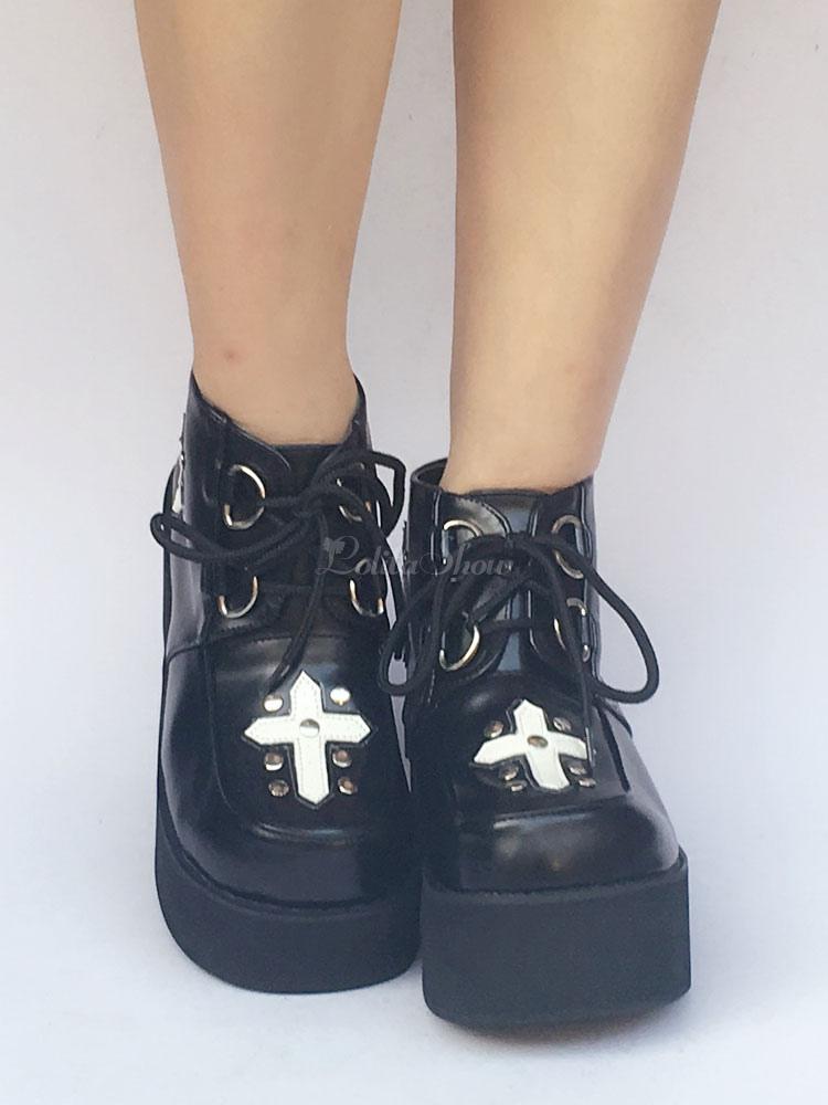 Zapatos de lolita de PU de puntera redonda Color liso negros Q9DzOE