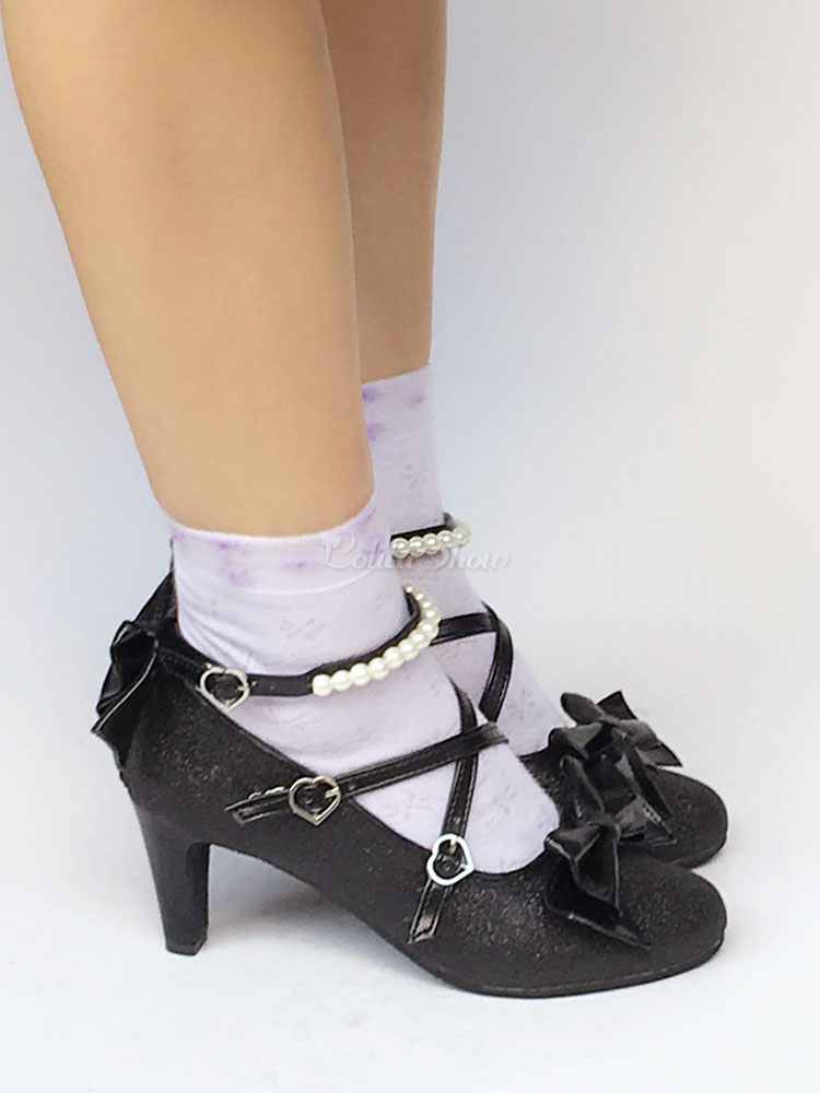 black heels with pearl ankle strap