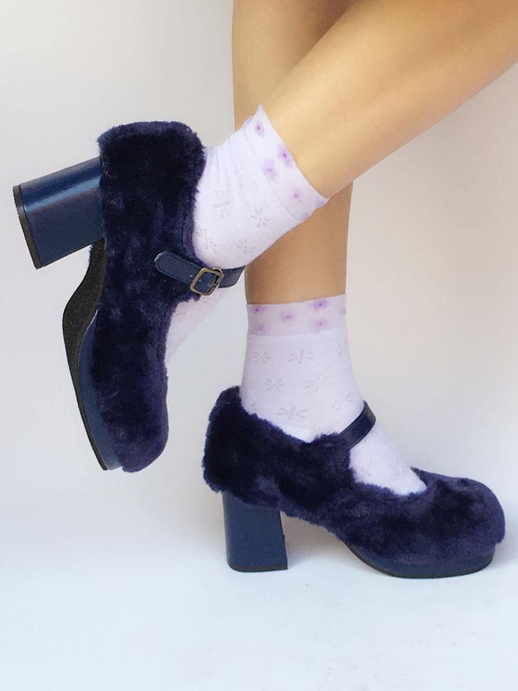 Zapatos de lolita Felpa de puntera redonda Color liso ZapXSOB
