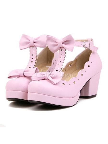 Zapatos de lolita de PU de puntera redonda con lazo para ocasión informal IQh6pY0oj