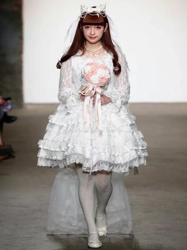Süßes Lolita Kleid Lolita Brautkleid mit Rüschen - Lolitashow.com
