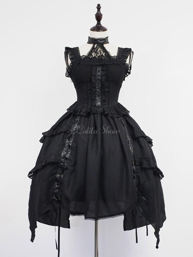 À Volants Noire Montant Polyester Lolita Charmante Avec Noeud En Bretelles Col Robe IeH9EDYW2