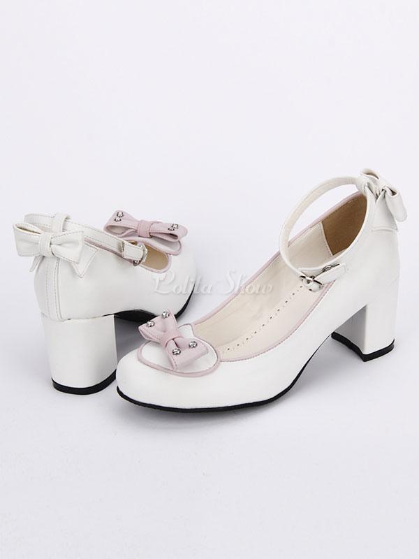 Zapatos de lolita de PU de puntera redonda con lazo para ocasión informal vqTjiC