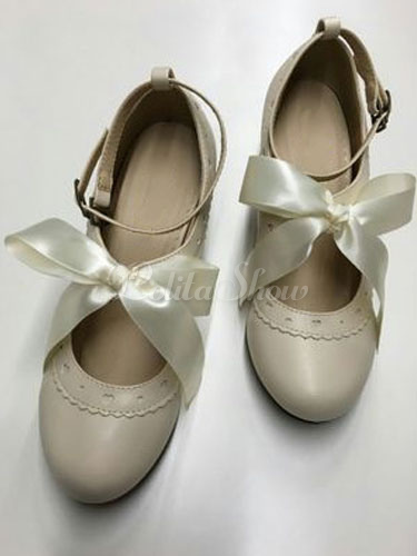 Zapatos de lolita de PU de puntera redonda con lazo para ocasión informal dDM7s2QUMx