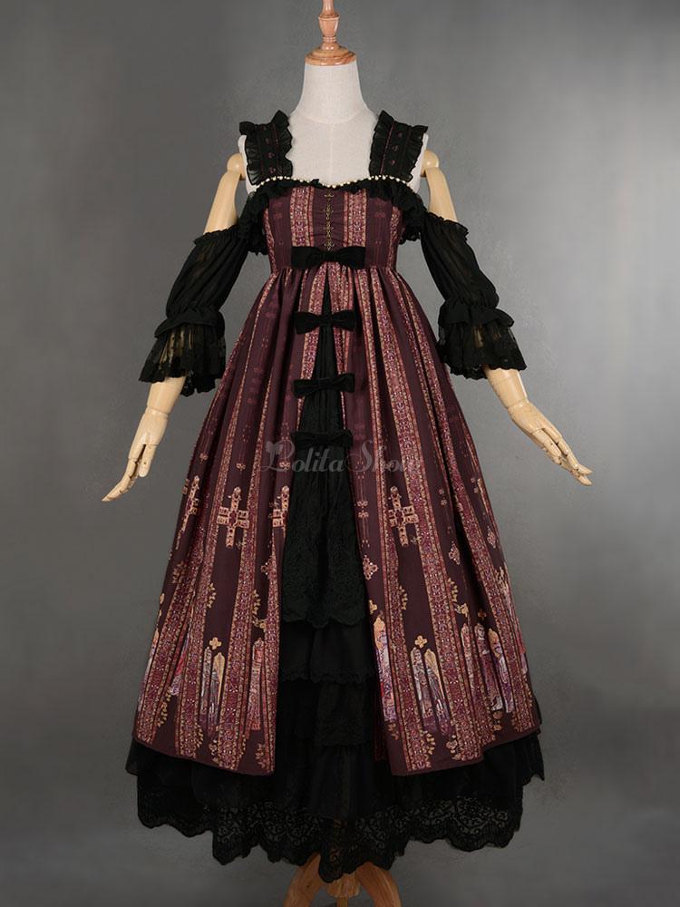 Classic Gothic Lolita Jsk Jumper Skirt Byzantium Style Modern Fancywork